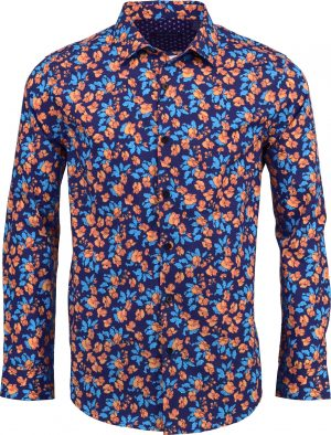 norman_hemd_blumen_flowers_muster_freizeit_casual_navy_blau_orange