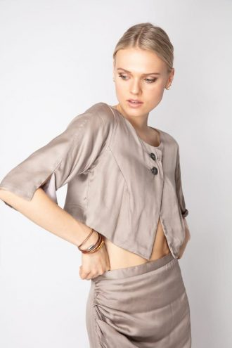 Light Satin Button-Up Top