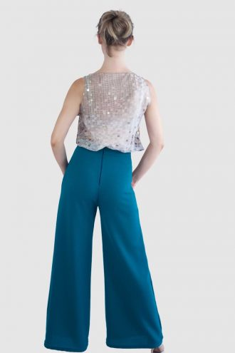 Turquoise flared trousers